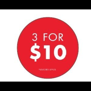 Everything with 🔴 is 3 for $10